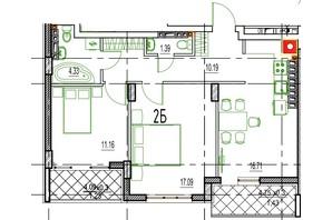 ЖК Derby Style House: планировка 2-комнатной квартиры 68.45 м²