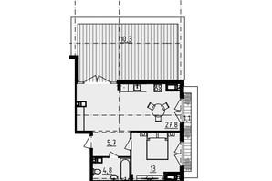 ЖК Derby Style House: планировка 1-комнатной квартиры 72.3 м²