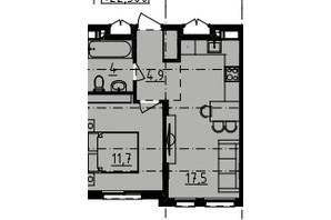 ЖК Derby Style House: планировка 1-комнатной квартиры 38.1 м²
