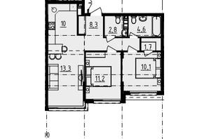ЖК Derby Style House: планировка 2-комнатной квартиры 61.15 м²