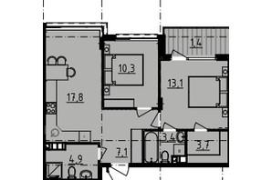 ЖК Derby Style House: планировка 2-комнатной квартиры 59.76 м²