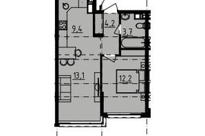 ЖК Derby Style House: планировка 1-комнатной квартиры 37.77 м²