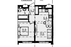 ЖК Derby Style House: планировка 1-комнатной квартиры 37.62 м²