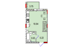 ЖК Derby Style House: планировка 1-комнатной квартиры 29.05 м²