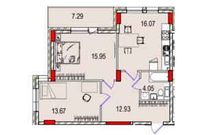 ЖК Derby Style House: планировка 2-комнатной квартиры 70.57 м²