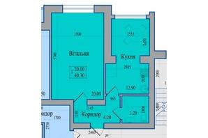 ЖК Діамант: планування 1-кімнатної квартири 40.3 м²