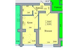 ЖК Діамант: планування 1-кімнатної квартири 42.4 м²