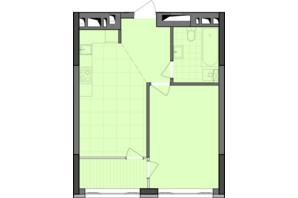 ЖК Dibrova Park: планировка 1-комнатной квартиры 45.25 м²