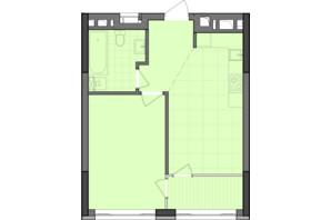 ЖК Dibrova Park: планировка 1-комнатной квартиры 45.29 м²