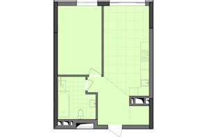 ЖК Dibrova Park: планировка 1-комнатной квартиры 48.75 м²
