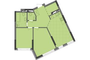 ЖК Dibrova Park: планировка 2-комнатной квартиры 68.94 м²