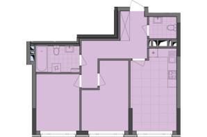 ЖК Dibrova Park: планування 2-кімнатної квартири 61.25 м²