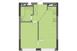 ЖК Dibrova Park: планування 1-кімнатної квартири 45.78 м²