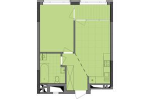 ЖК Dibrova Park: планування 1-кімнатної квартири 44.48 м²