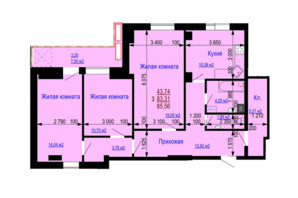 ЖК Дім на Зерновій: планування 3-кімнатної квартири 85.56 м²