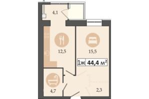 ЖК Днепровская Брама 2: планировка 1-комнатной квартиры 44.4 м²
