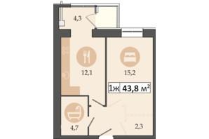 ЖК Днепровская Брама 2: планировка 1-комнатной квартиры 43.8 м²