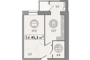 ЖК Днепровская Брама 2: планировка 1-комнатной квартиры 45.3 м²