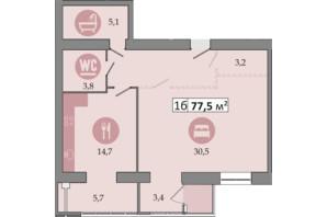 ЖК Днепровская Брама 2: планировка 1-комнатной квартиры 77.5 м²