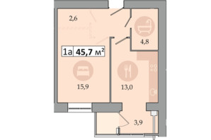 ЖК Днепровская Брама 2: планировка 1-комнатной квартиры 45.7 м²