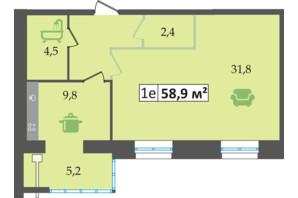 ЖК Днепровская Брама: планировка 1-комнатной квартиры 58.9 м²