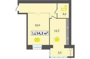 ЖК Днепровская Брама: планировка 1-комнатной квартиры 54.3 м²