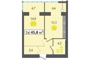 ЖК Днепровская Брама: планировка 1-комнатной квартиры 45.8 м²