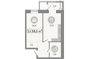 ЖК Дніпровська Брама 2: планування 1-кімнатної квартири 53.1 м²