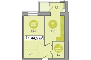 ЖК Дніпровська Брама 2: планування 1-кімнатної квартири 44.5 м²