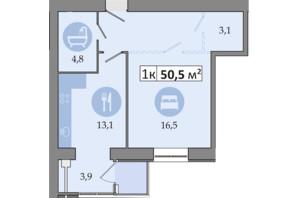 ЖК Дніпровська Брама 2: планування 1-кімнатної квартири 50.5 м²