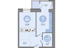 ЖК Дніпровська Брама 2: планування 1-кімнатної квартири 44.7 м²
