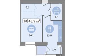 ЖК Дніпровська Брама 2: планування 1-кімнатної квартири 45.9 м²
