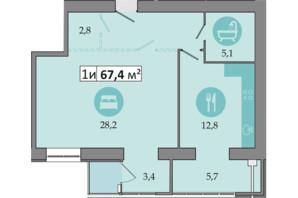 ЖК Дніпровська Брама 2: планування 1-кімнатної квартири 67.4 м²