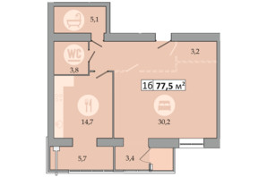 ЖК Дніпровська Брама 2: планування 1-кімнатної квартири 77.5 м²