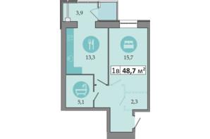 ЖК Дніпровська Брама 2: планування 1-кімнатної квартири 48.7 м²