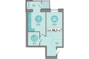 ЖК Дніпровська Брама 2: планування 1-кімнатної квартири 48.3 м²