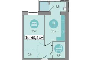 ЖК Дніпровська Брама 2: планування 1-кімнатної квартири 45.4 м²