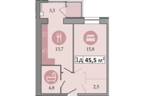 ЖК Дніпровська Брама 2: планування 1-кімнатної квартири 45.5 м²