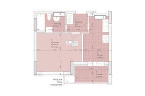 ЖК Дніпровська Мрія: планировка 1-комнатной квартиры 33.32 м²