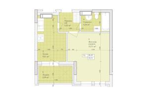ЖК Дніпровська Мрія: планировка 1-комнатной квартиры 35.37 м²