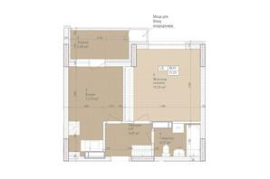 ЖК Дніпровська Мрія: планировка 1-комнатной квартиры 38.01 м²