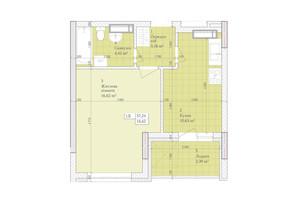 ЖК Дніпровська Мрія: планировка 1-комнатной квартиры 37.24 м²