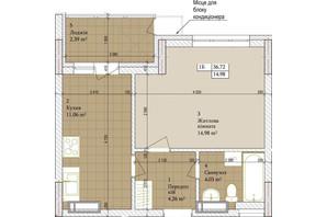 ЖК Дніпровська Мрія: планировка 1-комнатной квартиры 36.72 м²