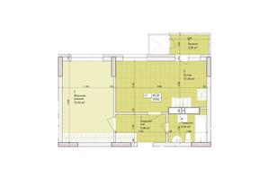 ЖК Дніпровська Мрія: планировка 1-комнатной квартиры 45.29 м²