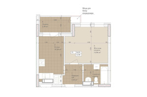 ЖК Дніпровська Мрія: планування 1-кімнатної квартири 36.83 м²