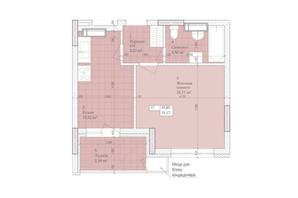 ЖК Дніпровська Мрія: планування 1-кімнатної квартири 35.85 м²