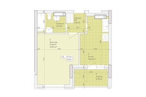ЖК Дніпровська Мрія: планування 1-кімнатної квартири 37.24 м²