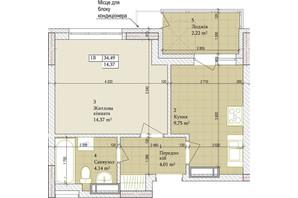 ЖК Дніпровська Мрія: планування 1-кімнатної квартири 34.49 м²