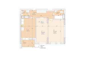 ЖК Дніпровська Мрія: планування 2-кімнатної квартири 60.11 м²