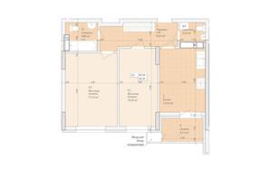 ЖК Дніпровська Мрія: планування 2-кімнатної квартири 60.2 м²